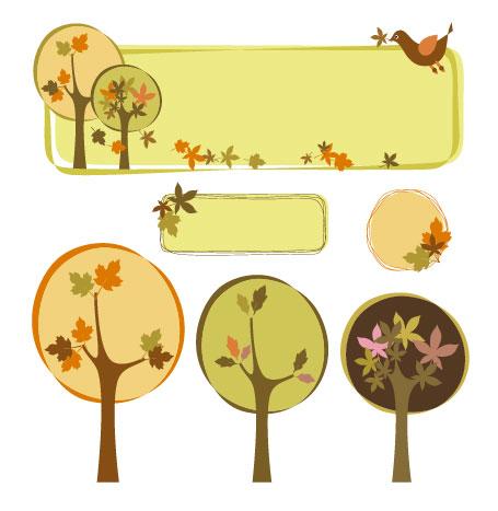 Vector tree theme decoration box