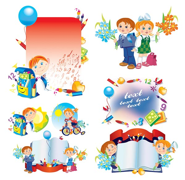 Vector illustration school children