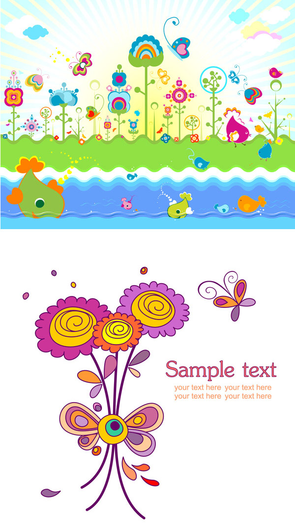 Lovely flowers colorful theme Vector
