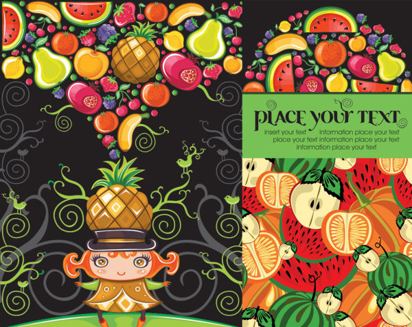 Cute colorful fruit Vector