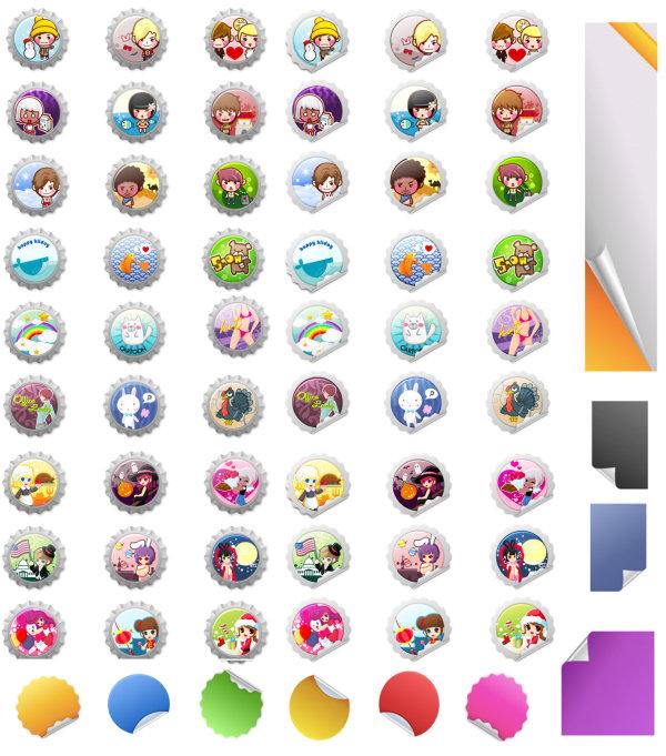 Cartoon cap & sticker vector of material