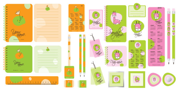 Vector cartoon stationery