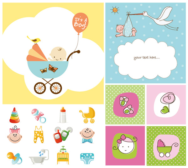Vector cute baby items subject