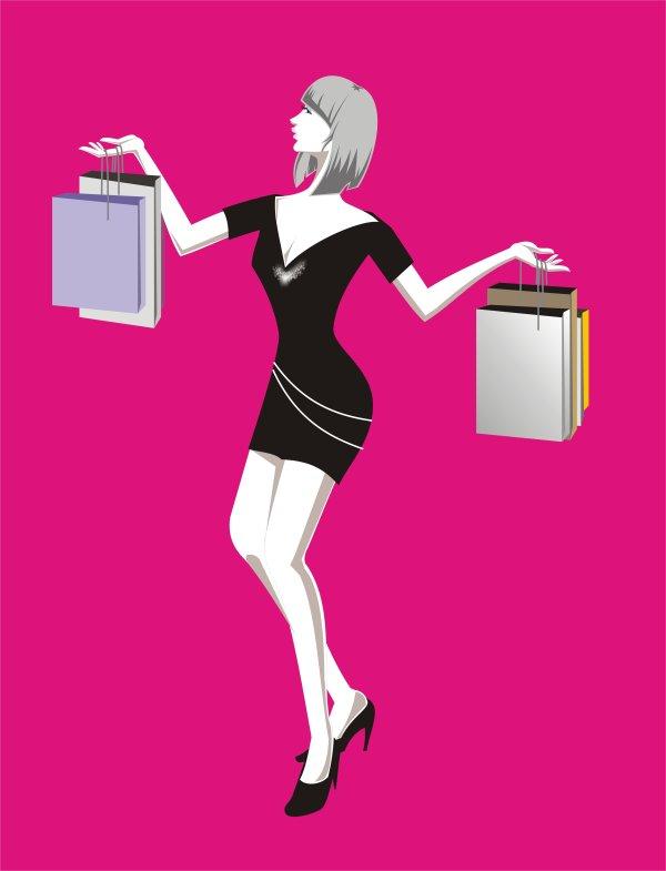 Shopping fashion women vector