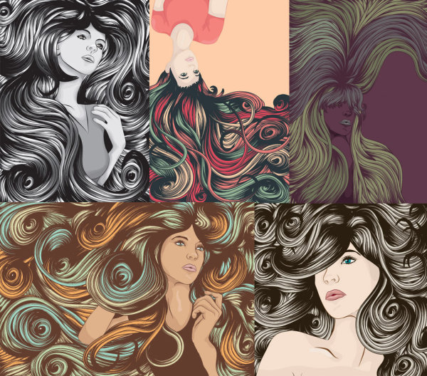 Cool female complex hair vector of material
