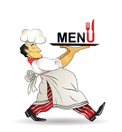 Restaurant menu design vector clip chef