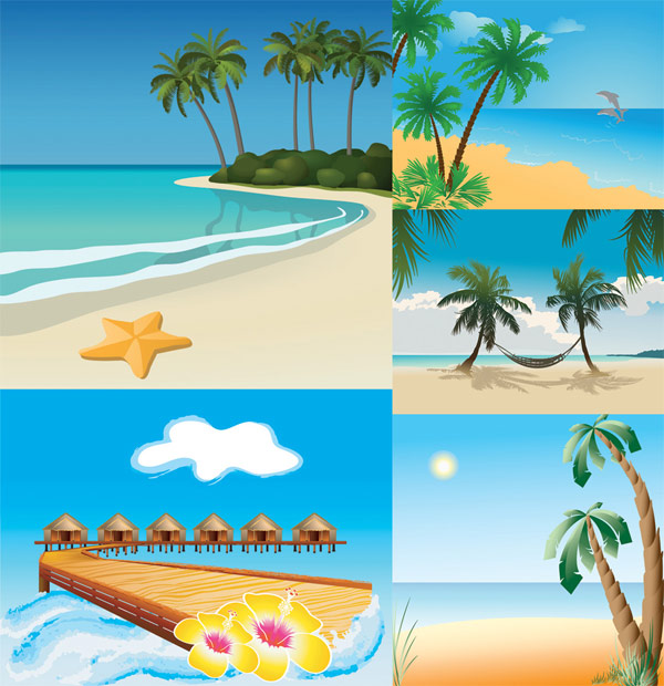 5 Vector beach scenery