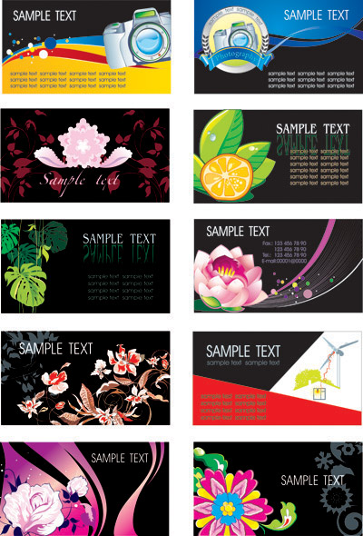 Flowers plant theme card template vector of material