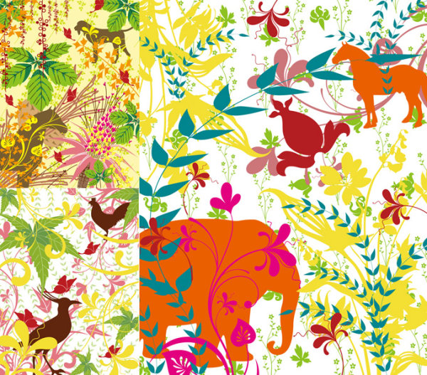 Profusion plants and animals silhouette vector of material