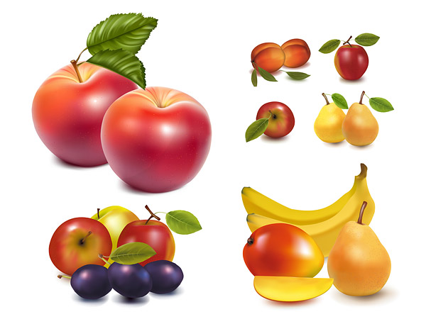 Lifelike fruit vector of material