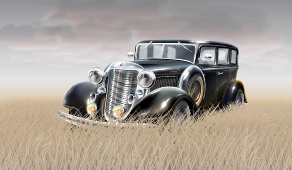 Grass material in the old car vector