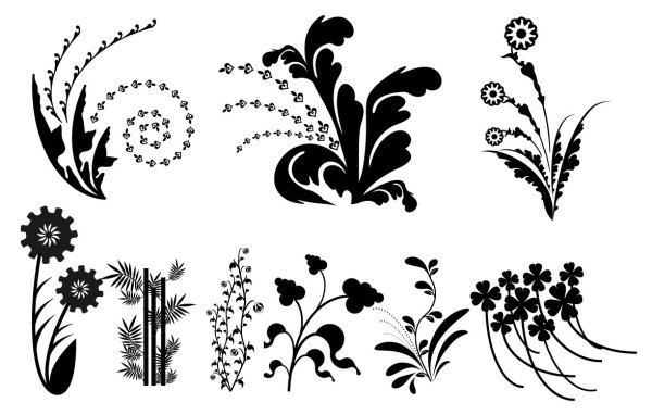 Vector silhouette black and white leaves