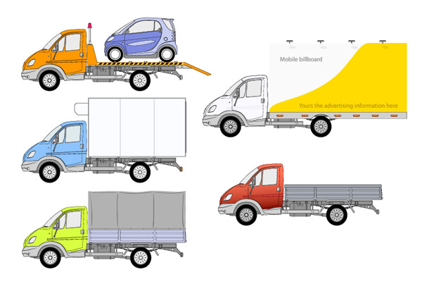 5 trucks Vector