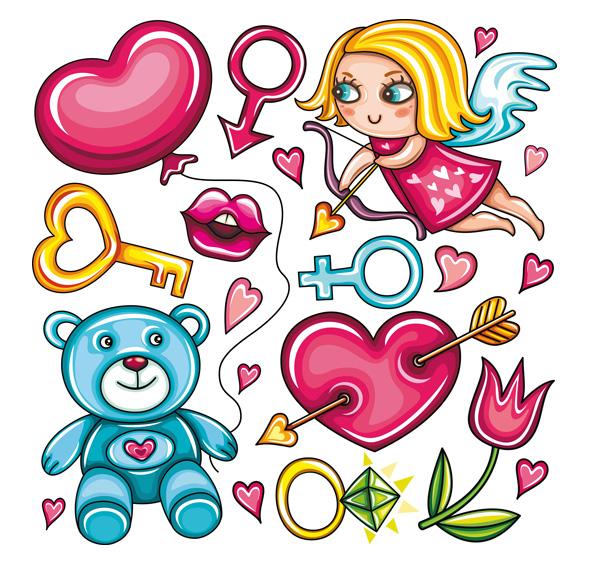 Lips; Baby Bear; key; roses carnations
