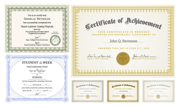 Certificate of Design Vector six