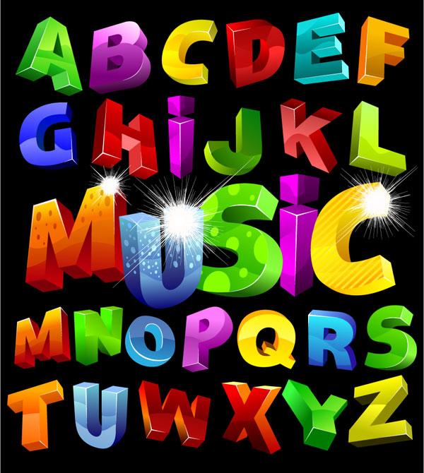 Colorful three-dimensional vector alphabet