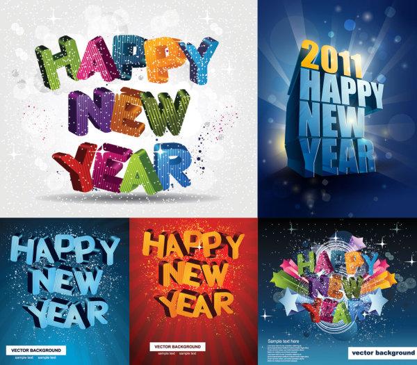 Happy New Year, three-dimensional Vector