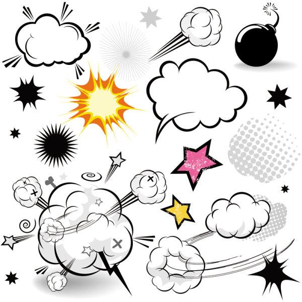 Cartoon-style mushroom cloud layer 01 - Vector