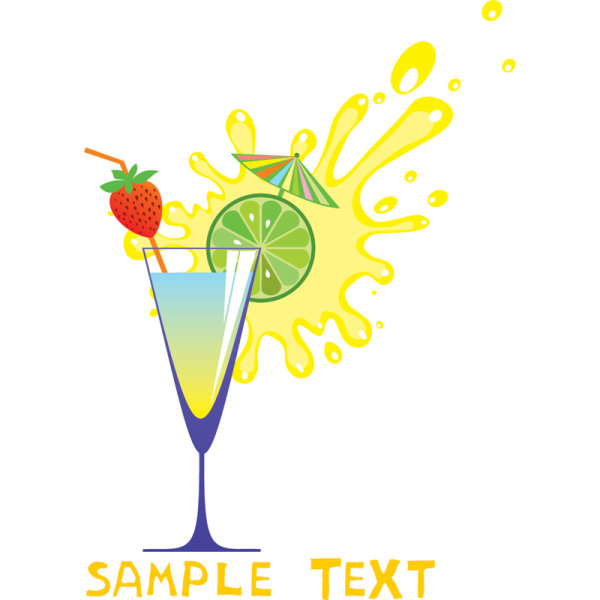 Glass and fruit juices high cartoon 05 - Vector