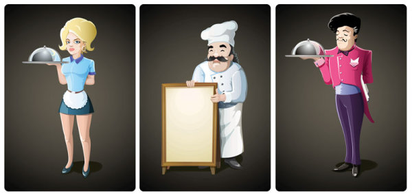 Waiter cartoon - Vector