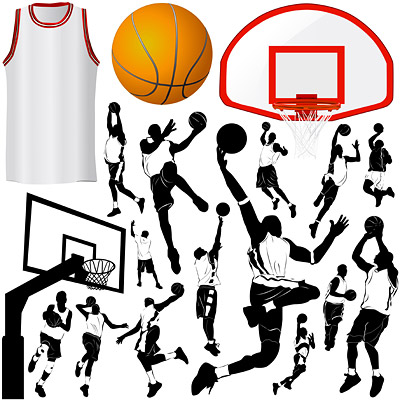 Vector elements of basketball theme