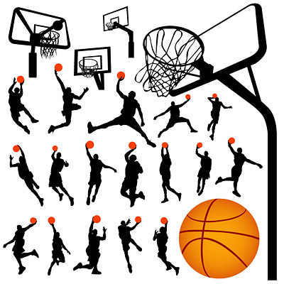 Basketball and backboard vector material in Profile