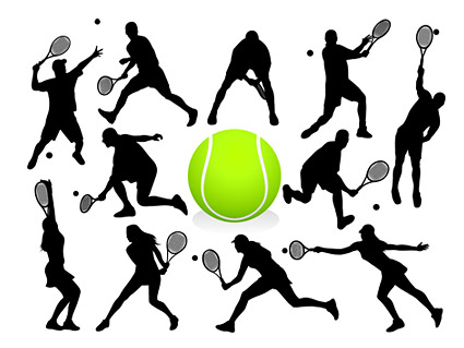 Tennis action figures silhouette Vector