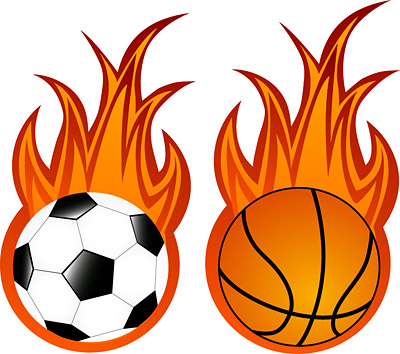 Football and basketball flame vector