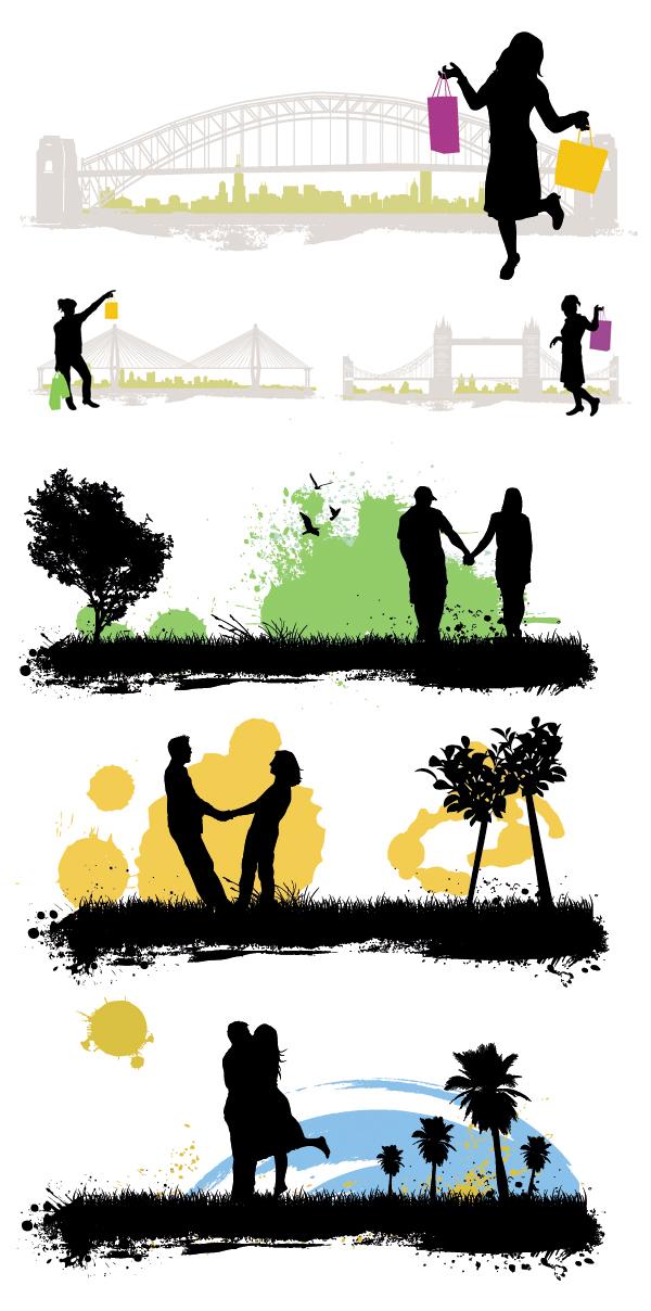 People, buildings, scenes silhouette 01