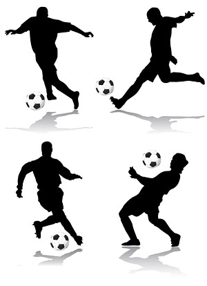4 football action figures silhouette Vector