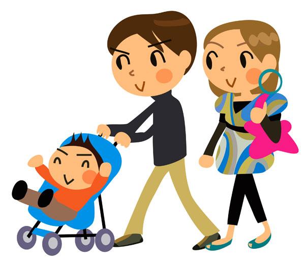 Cartoon family of three - Vector