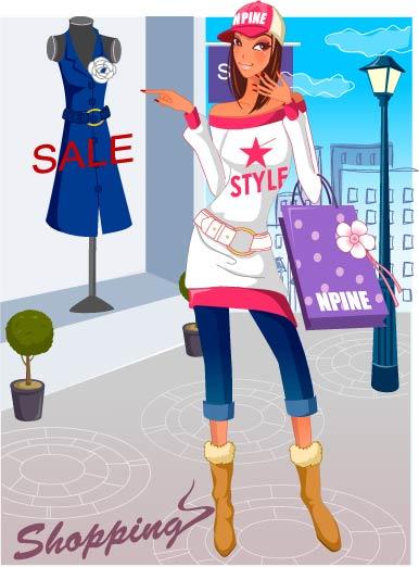 women shopping fashion material