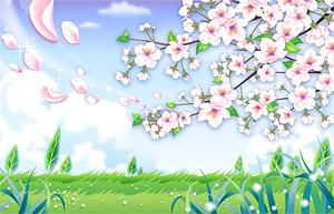 countryside petals fluttering  Vector