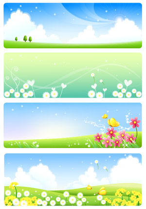 Summer countryside scenery Vector -2