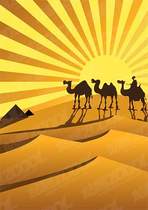 Golden desert camel silhouette Vector