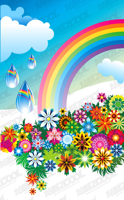 Rainbow colorful flowers