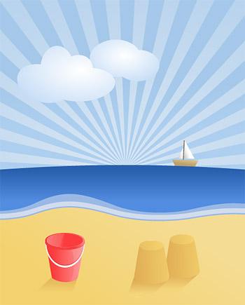 Vector Summer Beach Landscape
