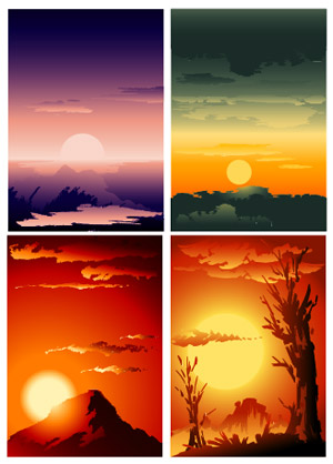 Vector beautiful sunset scenery