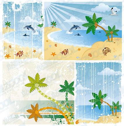 Vector cartoon beach scenery