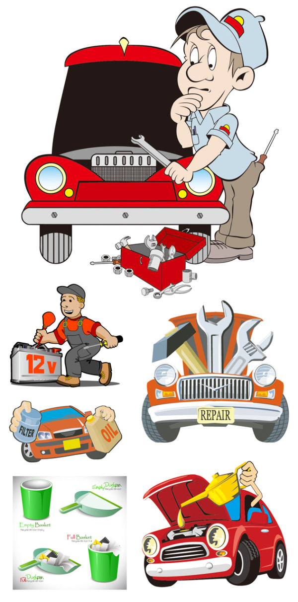 Vector cartoon illustration repair