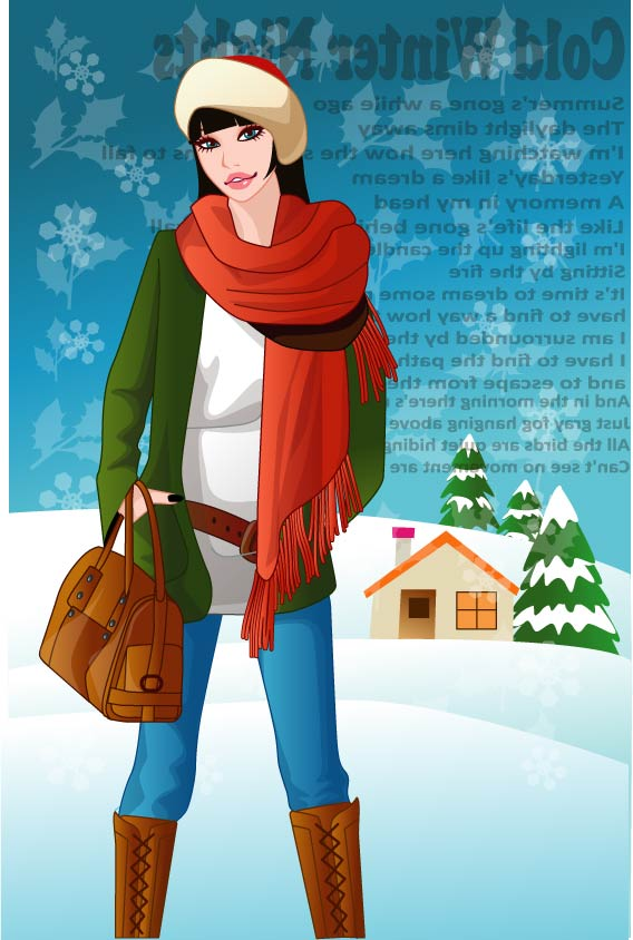 Vector winter woman