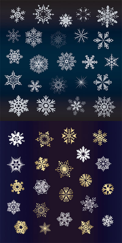 A variety of beautiful snow Vector