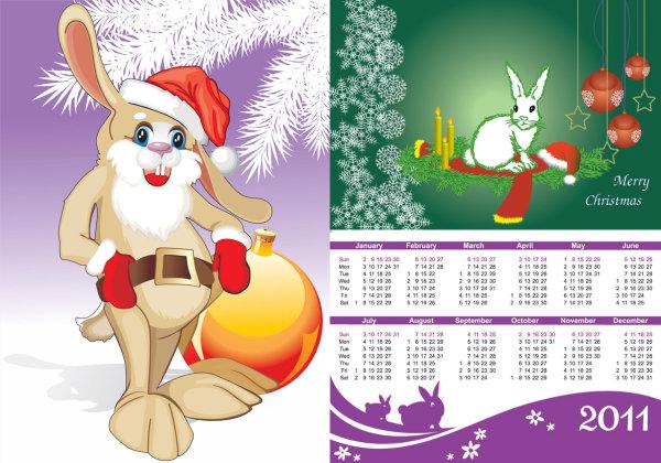 2011 Year of the Rabbit Calendar Vector