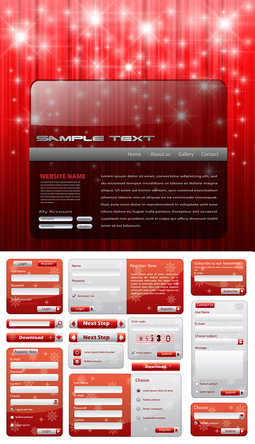 Christmas style of Web design elements vector material