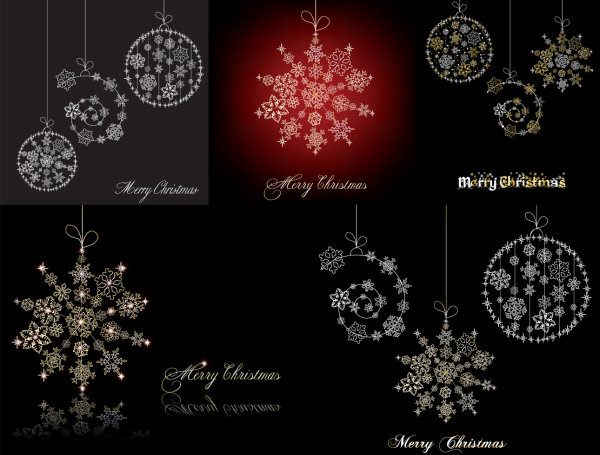Snowflake ornaments vector