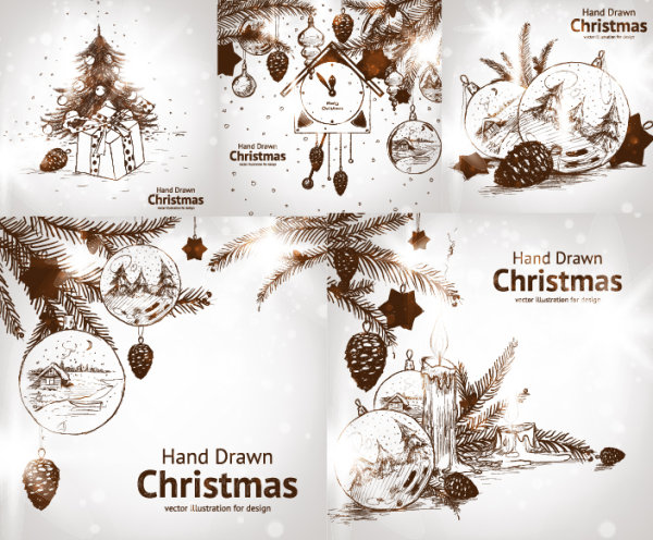 Hand-painted Christmas decorations Vector style