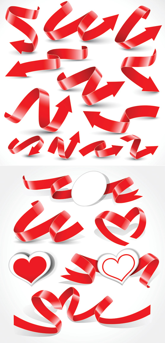 A variety of festive ribbon vector material