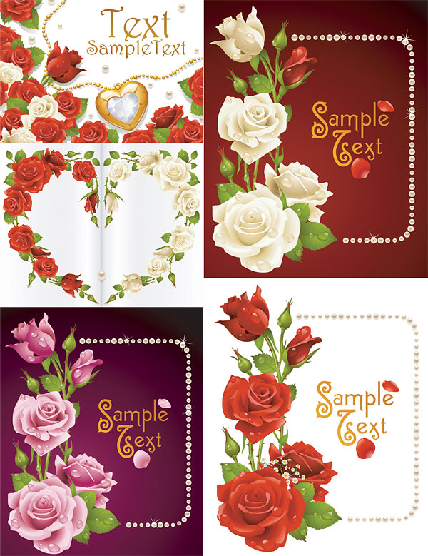 Roses cards vector material