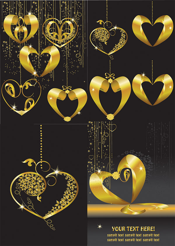 Gold heart-shaped pendant Vector