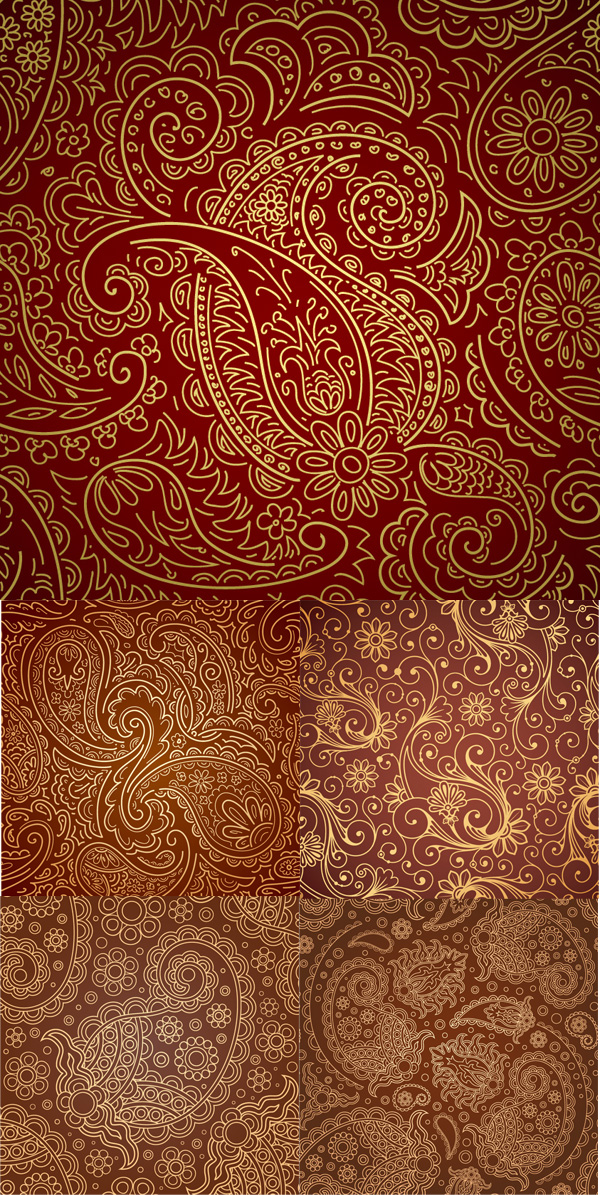 Five gorgeous pattern vector material
